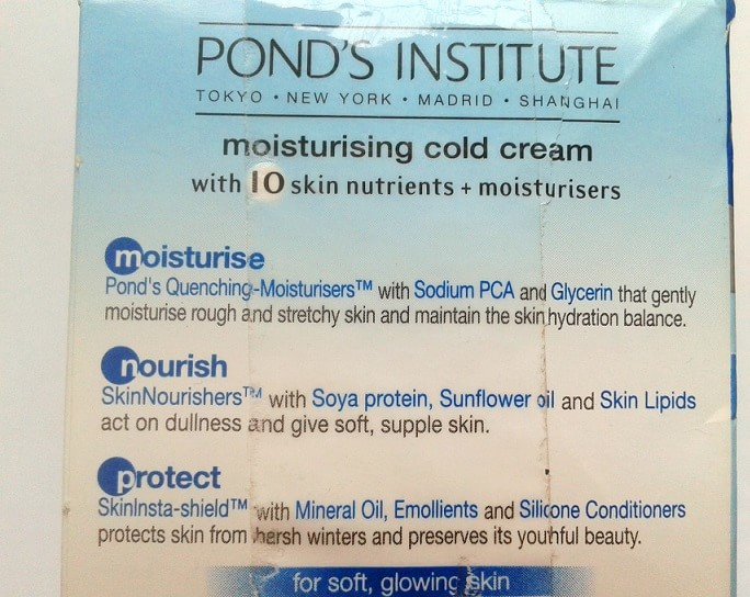 Pond-Moisturising-Cold-Cream-Review-ingredients