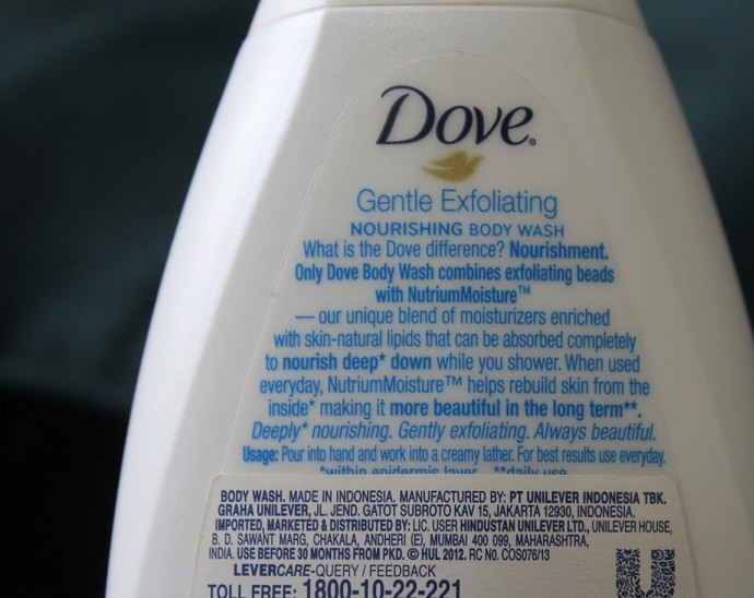 Dove-Gentle-Exfoliating-Nourishing-Body-Wash-Review-ingredients