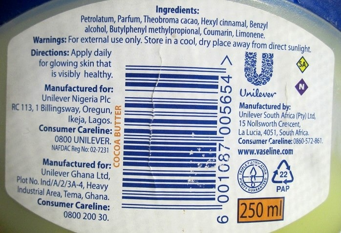 Vaseline-Blue-Seal-Cocoa-Butter-Rich-Conditioning-Jelly-Review-ingredients