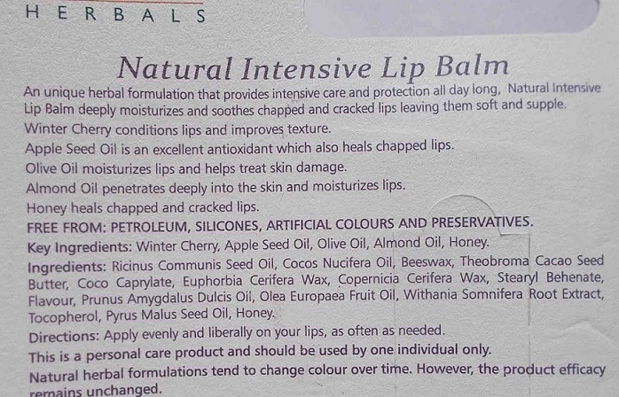 Himalaya-Herbals-Natural-Intensive-Lip-Balm-Review-ingredients
