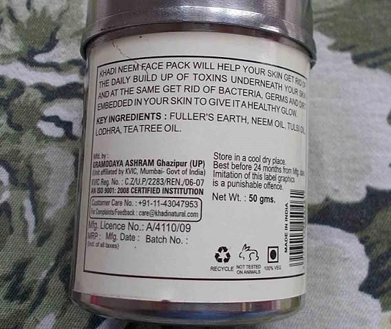 Khadi-Neem-Herbal-Face-Pack-Review-ingredients