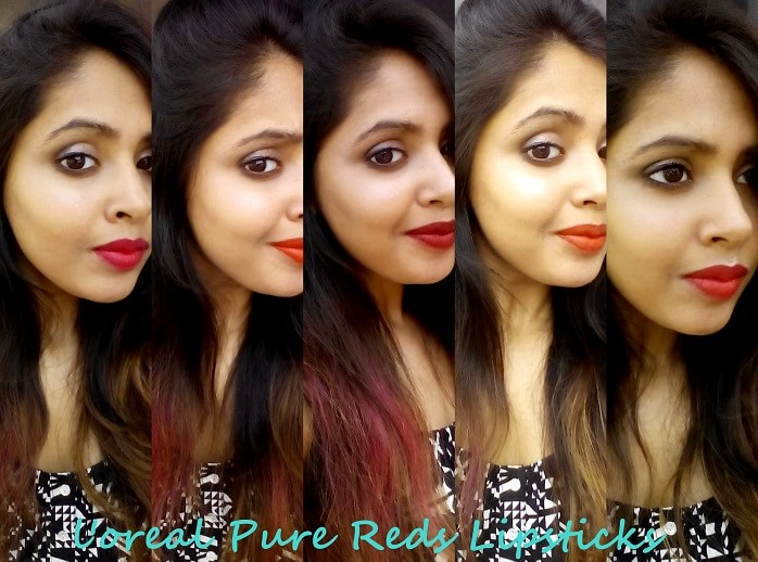 LOreal-Paris-Collection-Pure-Reds-Star-lipsticks-review-swatches-dupes-on-face