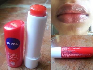 Nivea Fruity Shine Strawberry Lip Balm Review Swatches