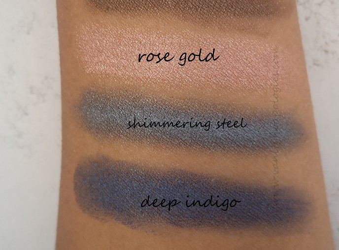 Oriflame-The-One-colour-impact-cream-eyeshadows-reviews-rosegold-shimmeringsteel-deepindigo