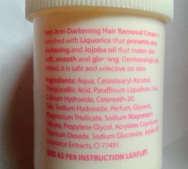 Fem-Anti-Darkening-Hair-Removal-Cream-for-sensitive-skin-review-ingredients