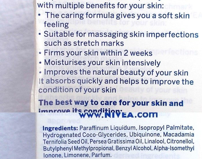 Nivea-Q10-Massaging-Stretchmark-Oil -Review-ingredients