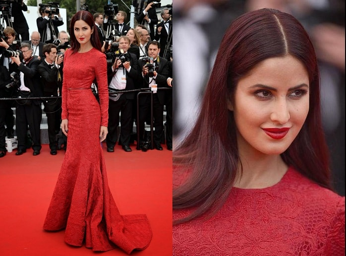 Katrina Kaif Cannes 2015 Makeup Red Hairvanitynoapologiesindian