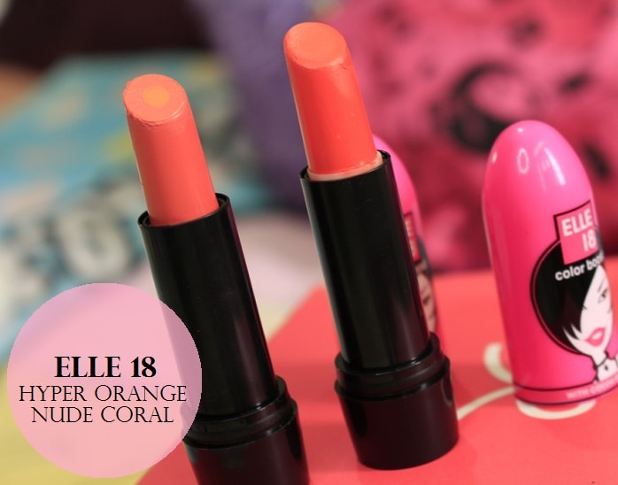 Elle18-Color-Boost-Lipsticks-HyperOrange-NudeCoral-Review-Swatches-price