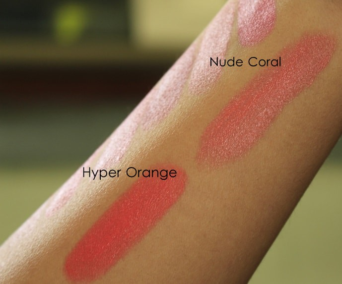 Elle18-Color-Boost-Lipsticks-HyperOrange-NudeCoral-Review-Swatches