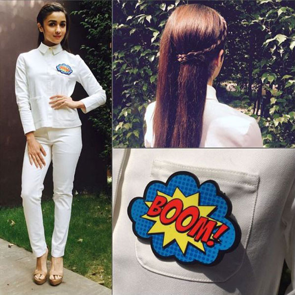 Alia Bhatt in half braid hairstyle
